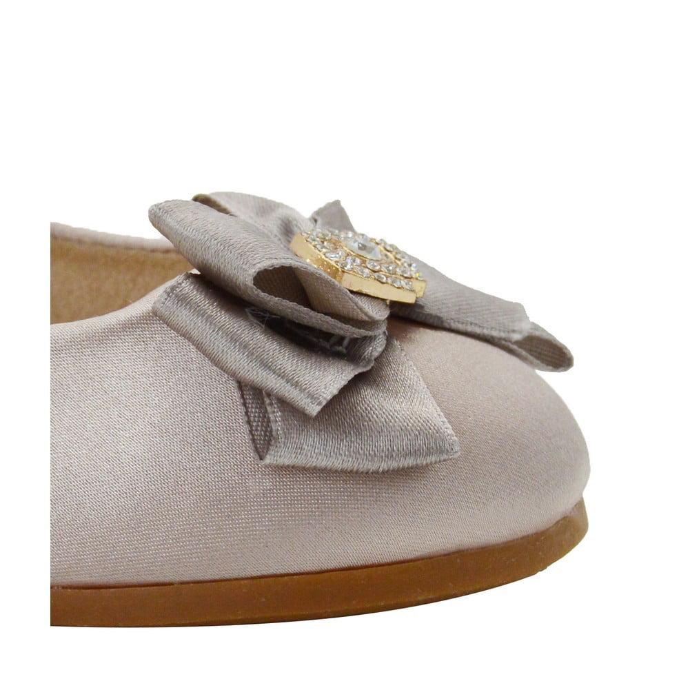 Blossom Girl - Little Girls Nude Double Satin Bow Brooch Flat Dress Shoes -  Walmart.com