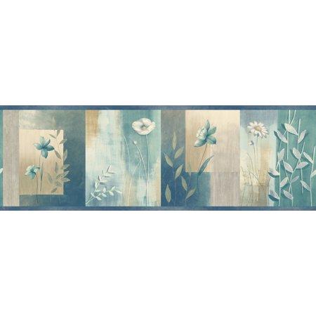 Brewster Home Fashions Meadowlark Bonnard Colorblock 15' x 6'' Floral 3D Embossed Border Wallpaper