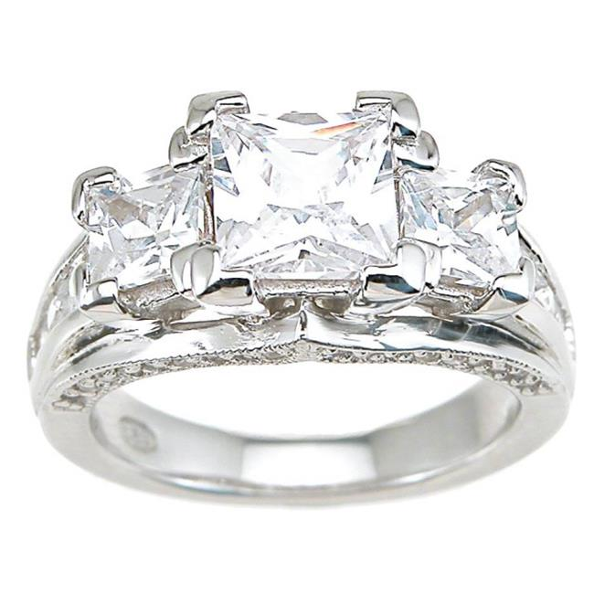 Plutus kkr6289a 925 Sterling Silver Rhodium Finish CZ Princess Antique Style Wedding Ring Size 6