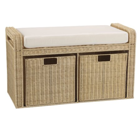 Tremendous Household Essentials Natural Rattan Storage Seat Walmart Com Pabps2019 Chair Design Images Pabps2019Com