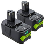 2-Pack 6000mAh Ryobi 18V Lithium Battery for Ryobi 18 Volt ONE+ P102 P103 P104 P105 P107 P109 P122 Cordless Power Tools