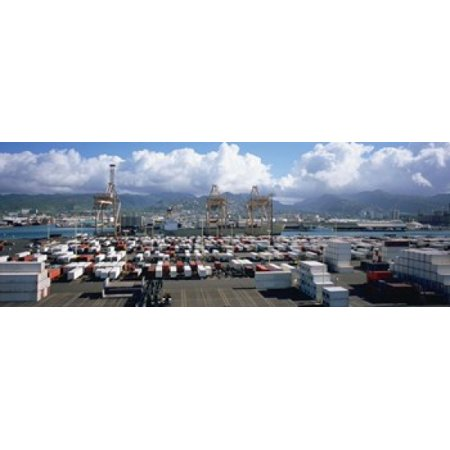 Containers And Cranes At A Harbor Honolulu Harbor Hawaii USA Poster - Harbor Crane