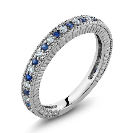 Simulated Sapphire And White Created Sapphire 925 Sterling Silver Wedding Band