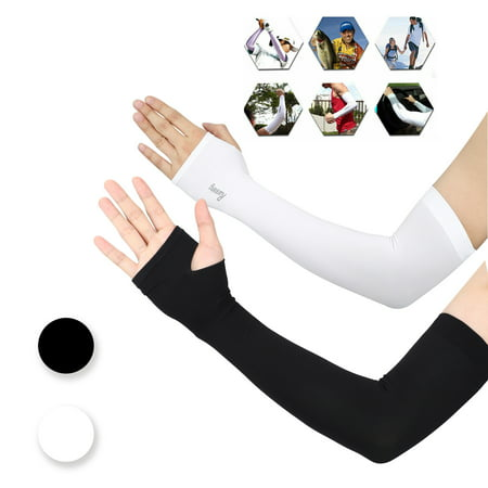 2 Pack UV Protection Cooling Arm Sleeves Men Women Sunblock Cooler Protective Sports Running Golf Cycling Basketball Driving Fishing Long Arm Cover