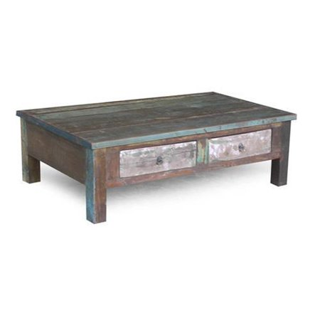 Timbergirl reclaimed wood coffee table and double drawers for Coffee tables 24 high