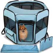 Paws & Pals Portable Soft-Sided Mesh Pet Playpen with Blanket, Blue