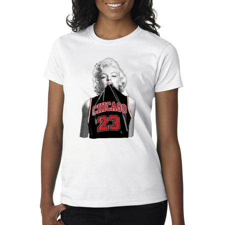 New Way 445 - Women s T-Shirt Marilyn Monroe Chicago Bulls Jordan 23 Black  Jersey - Walmart.com 01cd239711