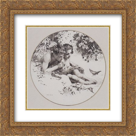 Leaf Fine Gold Plate - Koloman Moser 2x Matted 20x20 Gold Ornate Framed Art Print 'Reproduction template for the middle part of the leaf love for Gerlach's allegories. New Series, Plate 30'