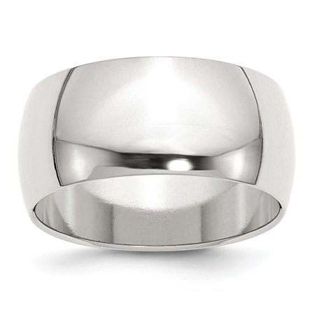 Sterling Silver 10mm Half Round Band Ring - Ring Size: 4 to