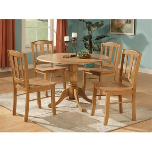 DLIN5-OAK-W 5 Piece small kitchen table and chairs set-round table and 4 dinette chairs Chairs