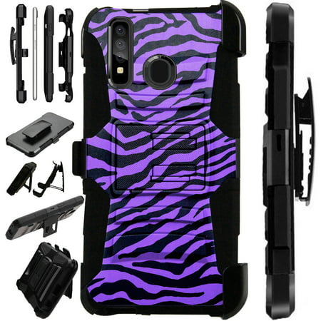 Compatible Samsung Galaxy Note 10 Plus Case Armor Hybrid Phone Cover LuxGuard Holster (Purple Zebra Skin) Zebra Samsung Faceplates