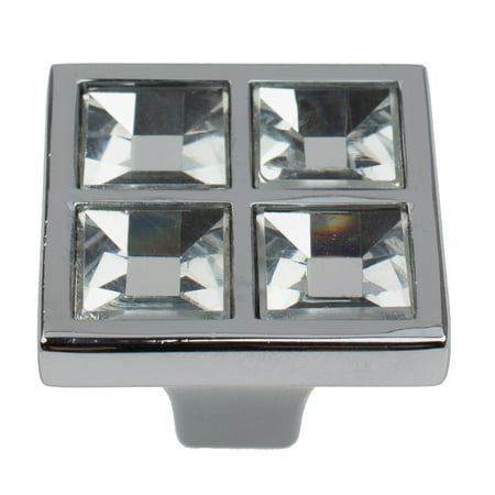 GlideRite 1 in. Square Crystal Cabinet Knobs with Polished Chrome Base, Pack of 10
