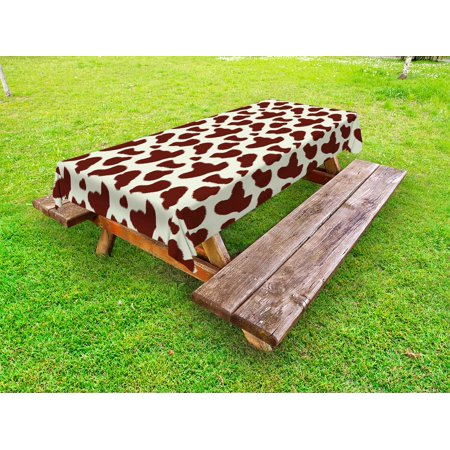 Cow Print Outdoor Tablecloth, Cattle Skin with Brown Spots Agriculture Cow and Oxen Hide Camouflage Pattern, Decorative Washable Fabric Picnic Tablecloth, 58 X 104 Inches, White Brown, by Ambesonne](Camouflage Tablecloths)