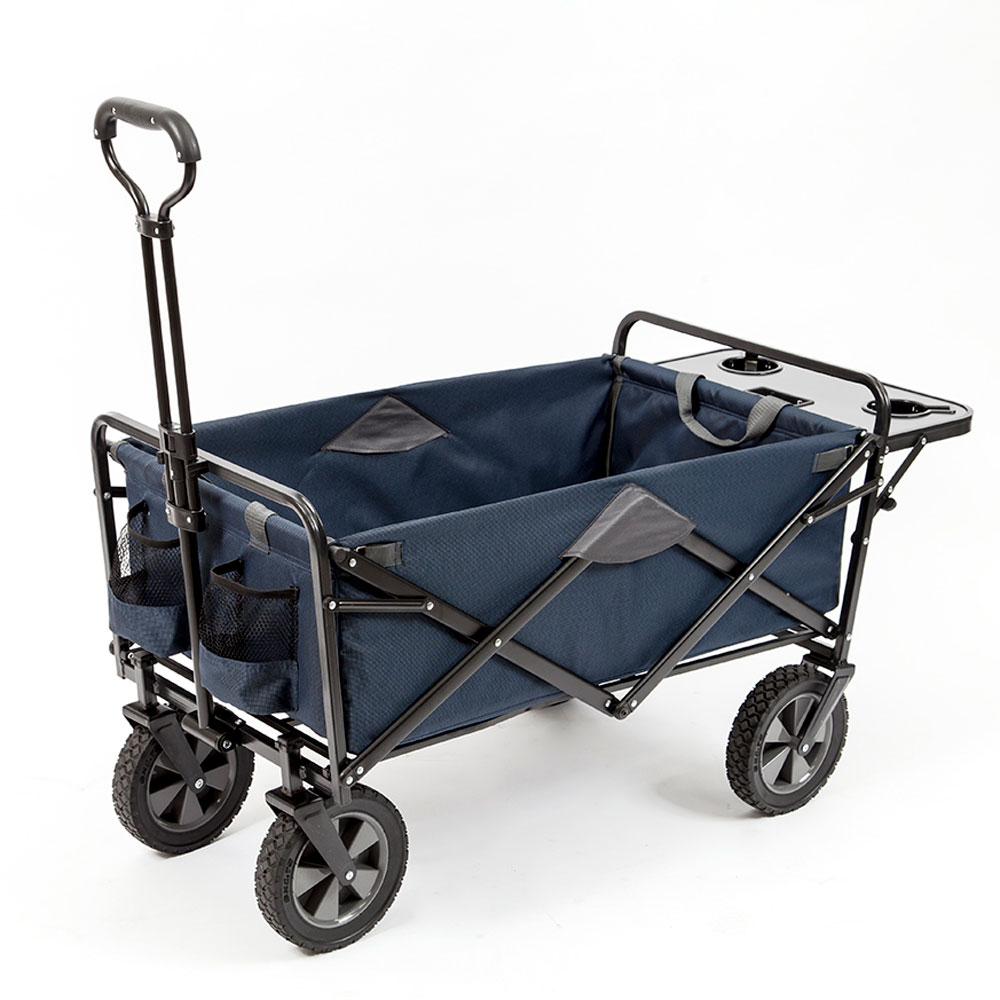 Mac Sports Collapsible Folding Outdoor Garden Utility Wagon Cart w/ Table, Navy