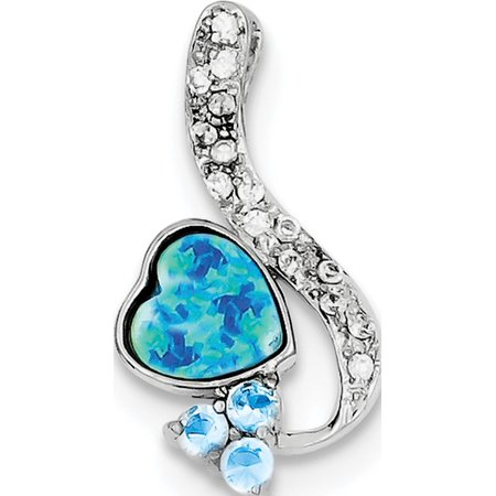 925 Sterling Silver Created Opal & Blue CZ (13x24mm) Pendant / Charm - image 2 of 2