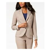 ANNE KLEIN Womens Beige Plaid Two Button Blazer Jacket  Size: 4