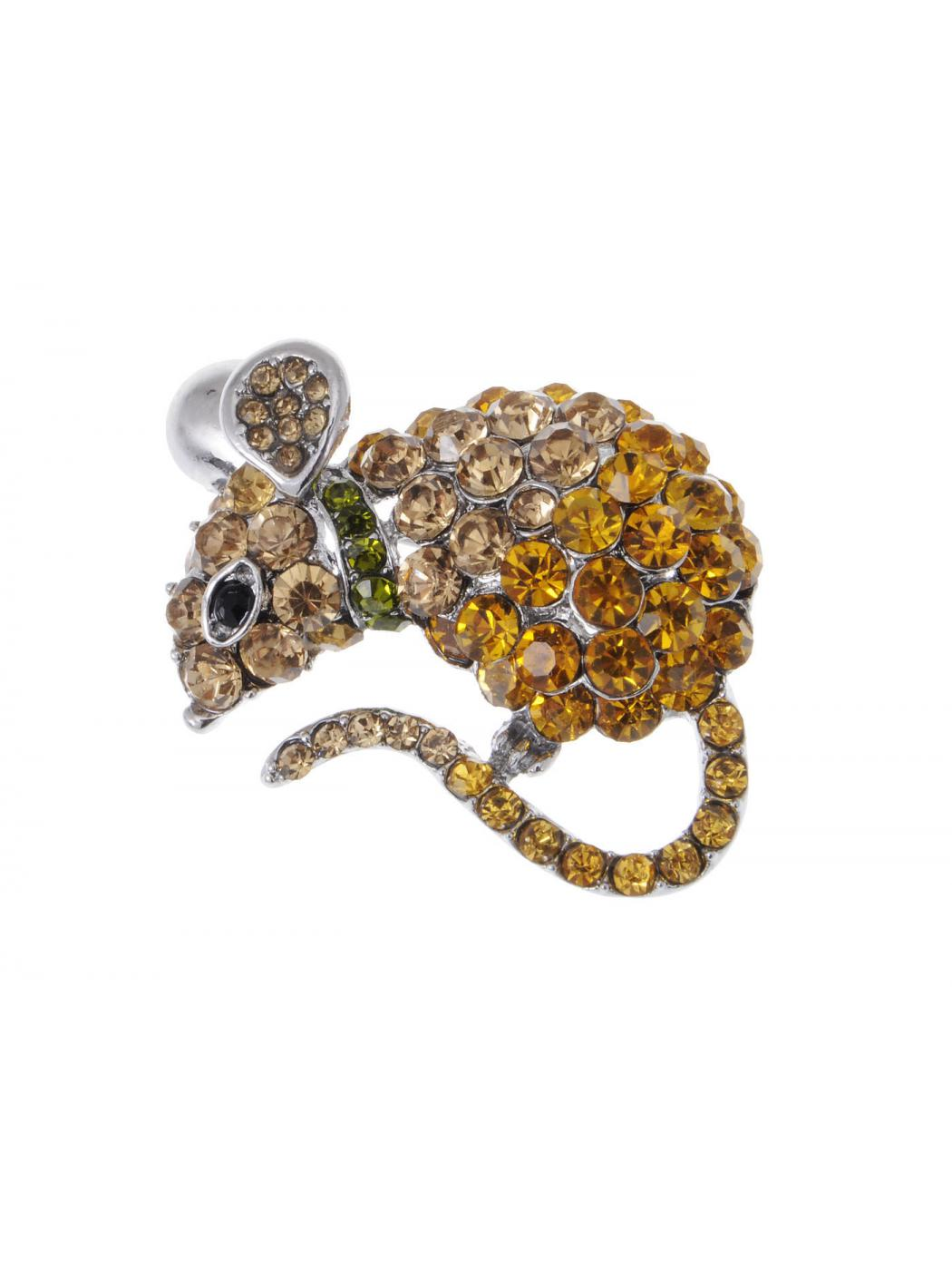 Topaz Crystal Rhinestone Mouse Mice Pet Hamster Cheese Jewel Fashion Pin Brooch by