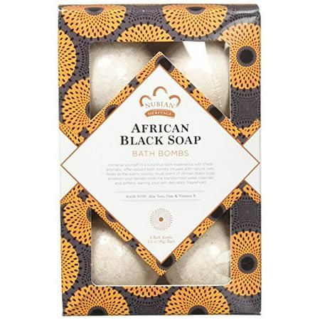 African Black Soap Bath Bomb by Nubian Heritage for Unisex - 6 x 1.6 oz Bubble Bath - image 1 de 3