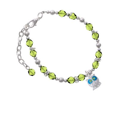 Silvertone Owl With Hot Blue   Lime Green Crystal Eyes Lime Green Beaded Bracelet
