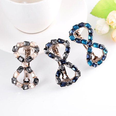 Colour Rhinestone Spring Hairpin Women Hollow Bowknot Hair Clip Girls Alloy Headwear Barrette - image 1 de 9