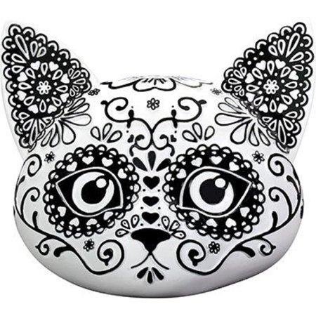 Dia De Los Muertos Cat (Floral Day of the Dead Kitty Cat Head Figurine Dia de Los Muertos Decoration)