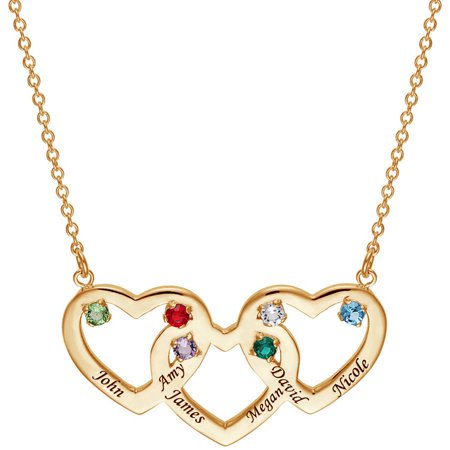 "Personalized Family Gold-Plated Name and Birthstone Heart Pendant, 18"" with 2"" Extender"