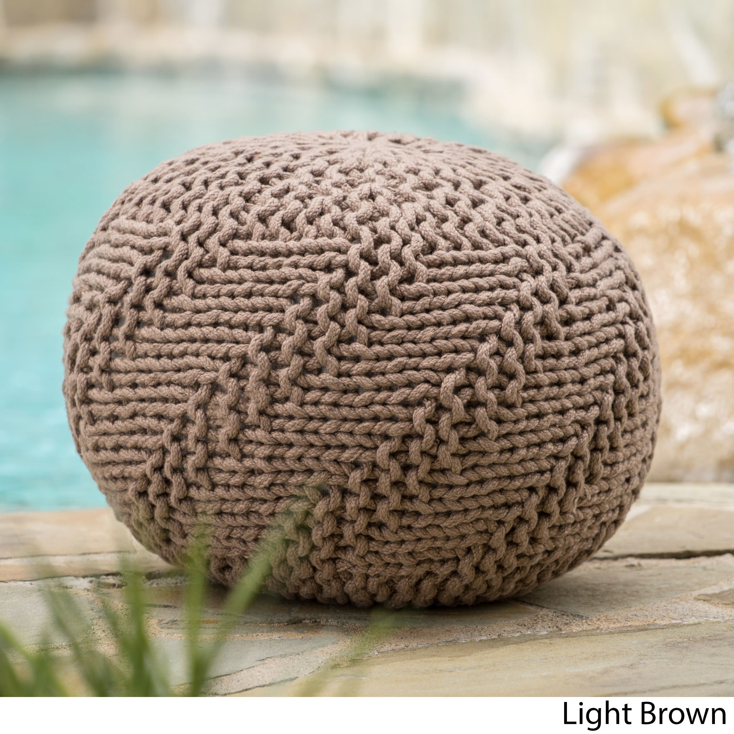Christopher Knight Home Hazel Outdoor Round Weave Fabric Ottoman Pouf by