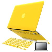 """iBenzer - 3 in 1 Macbook Air 13"""" Soft-Skin Plastic Hard Case Cover & Keyboard Cover & Screen Protector for Macbook Air 13"""" NO CD-ROM (A1369/A1466), Yellow MMA13YW+2"""