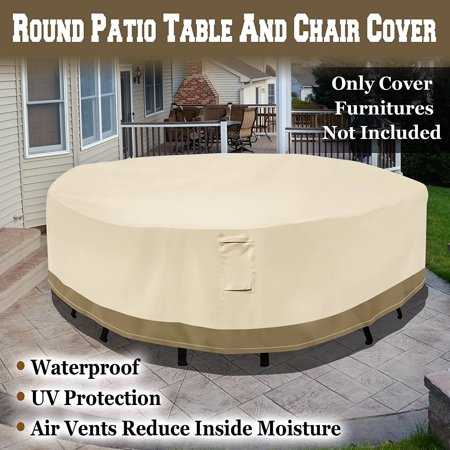 Sunrise Outdoor Patio Round Table/Chair Set Cover, Furniture Protector 8' x 2' ()