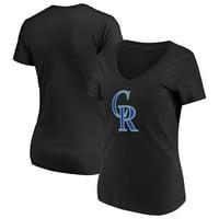 Women's Majestic Black Colorado Rockies Top Ranking V-Neck T-Shirt