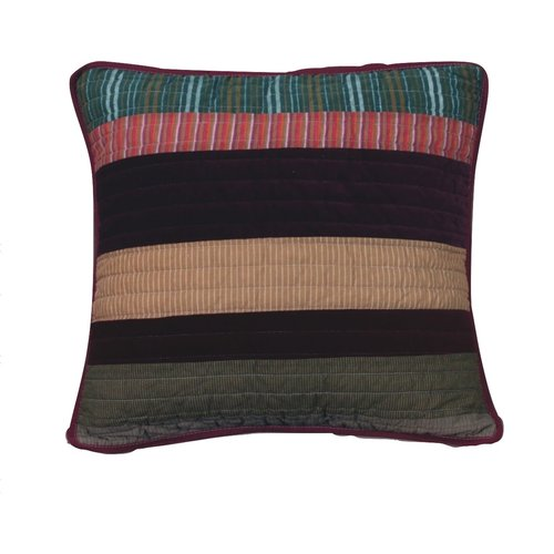 DaDa Bedding Classical Real Patchwork Striped Quilted Cotton Pillow Cover (Set of 2)