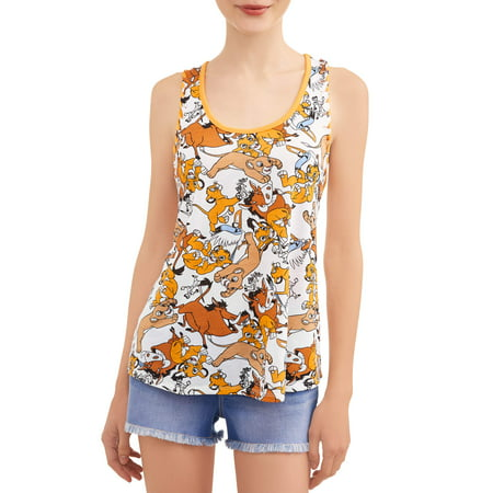 Juniors' Lion King Toss Disney Licensed Knit Graphic Tank Top