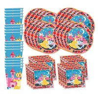 Princess Fairytale Birthday Party Supplies Set Plates Napkins Cups Tableware Kit for 16