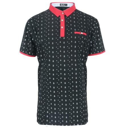 Anchor Polo (Men's Slim-Fit Anchor Pattern Cotton-Blend Polo Shirt)