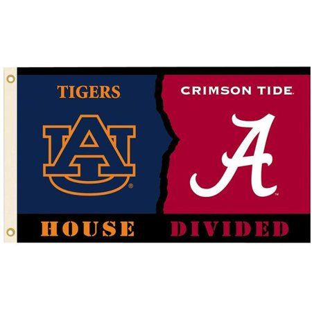 BSI Products 23245 3 x 5 ft. Alabama Auburn Flag with Grommets - Rivalry House Divided