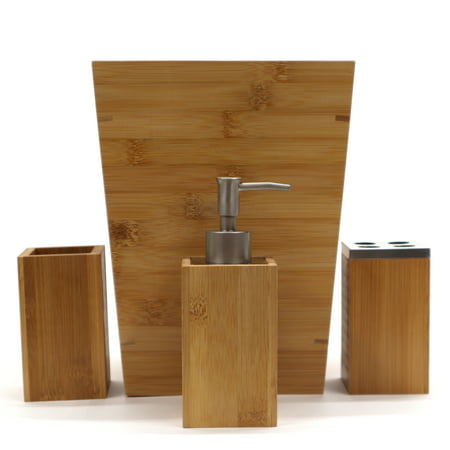Bamboo 4 PC Bathroom Accessory - Kids Bathroom Accessories