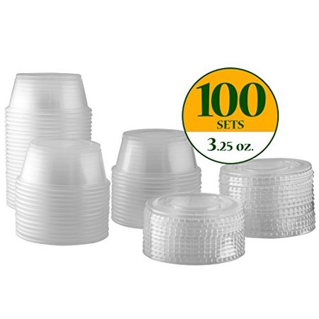 Plastic Disposable Portion Cups Souffle Cups with Lids (Pack of 100, 3.25