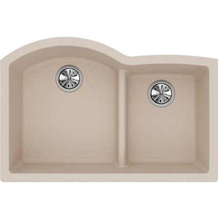 "Elkay ELGHU3322R Harmony 33"" Double Basin Granite Composite Kitchen Sink for Undermount Installations with 55/45 Split and Aqua Divide"