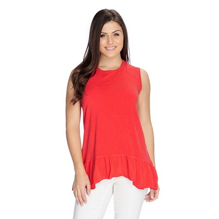 OSO Casuals Women's Knit Raw Edge Seamed Ruffled Hem Tank Top in Red - (Raw Edge Hem)
