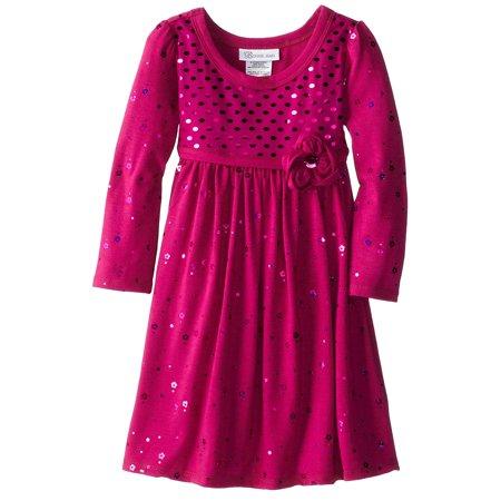 Little Girls 2T-6X Fuchsia-Pink Long-Sleeve Spangle Knit Empire Waist Dress [BNJ03927] ()