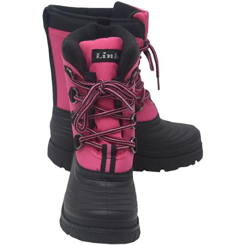 Girls Fuchsia Black Grippy Sole Lace Up Fabric Rain Boots 12 Kids