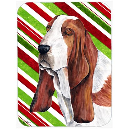 Carolines Treasures SC9332LCB 15 x 12 in. Basset Hound Candy Cane Holiday Christmas Glass Cutting Board - Large - image 1 de 1