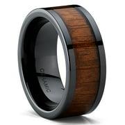 Men's Black Ceramic Flat Top Wedding Band Ring with Real Koa Wood Inlay, 9MM Comfort Fit