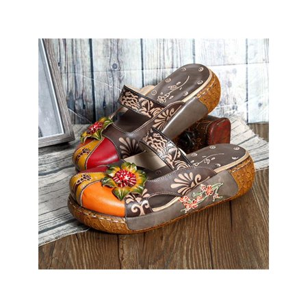 3ef5f0ef10428 2018 Summer Fashion Women Vintage Colorful Leather Hollow Out Shoes  Backless Flower Sandals New New - Walmart.com