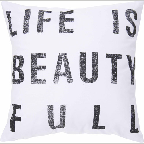 """Art of Knot Esmoriz 18"""" x 18"""" White Hand Crafted Cotton Decorative Pillow with Poly Filler"""