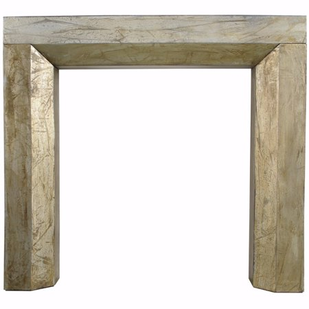 Distressed Solid Wood Fireplace Mantel, Gold ()
