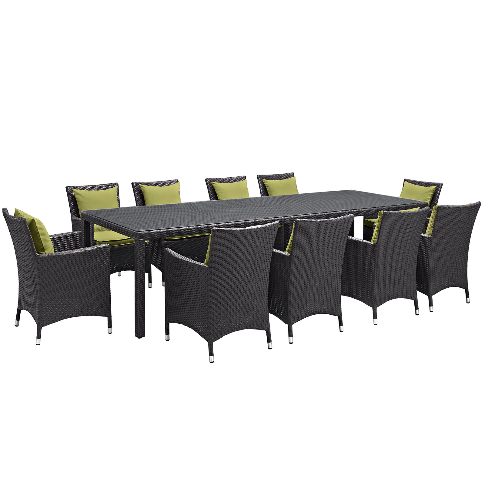 Modern Contemporary Urban Design Outdoor Patio Balcony Eleven PCS Dining Chairs and Table Set, Green, Rattan