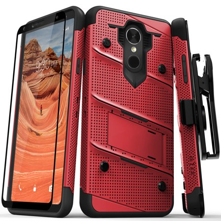 Grape Case (Zizo BOLT Series compatible with LG Stylo 4 Case Military Grade Drop Tested with Tempered Glass Screen Protector, Holster, Kickstand RED BLACK )