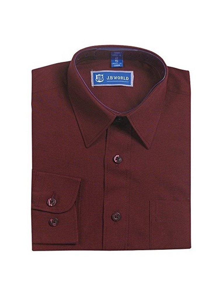 JB World Little Boys Burgundy Long Sleeve Button Front Uniform Dress Shirt