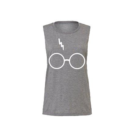 13bf010a Zexpa Apparel - Harry Potter Glasses Lightning-Bolt Scar Women's Muscle  Tank Top Asphalt Slub Small - Walmart.com